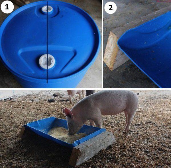Кормушка для свиней из пластиковой бочки