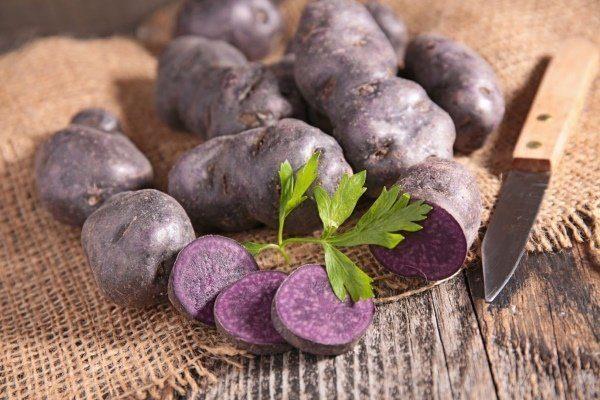 Картофель с фиолетовой кожурой и белой мякотью
