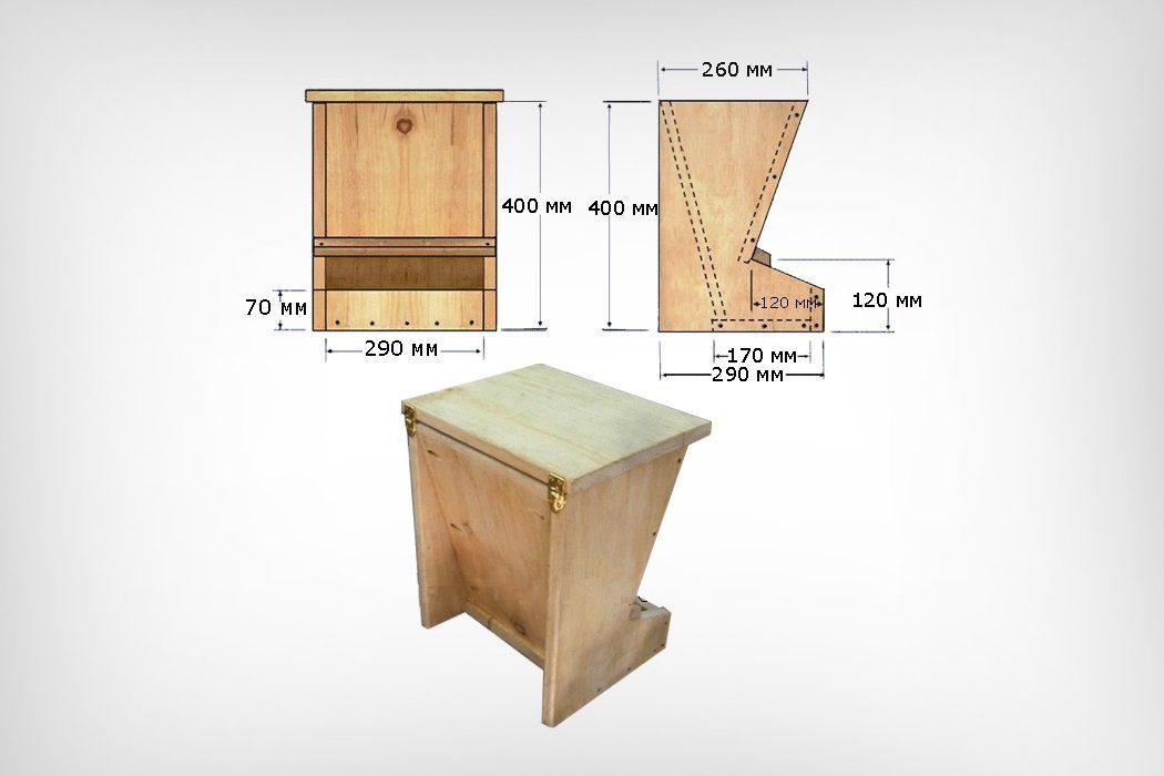 Бункерная кормушка из дерева