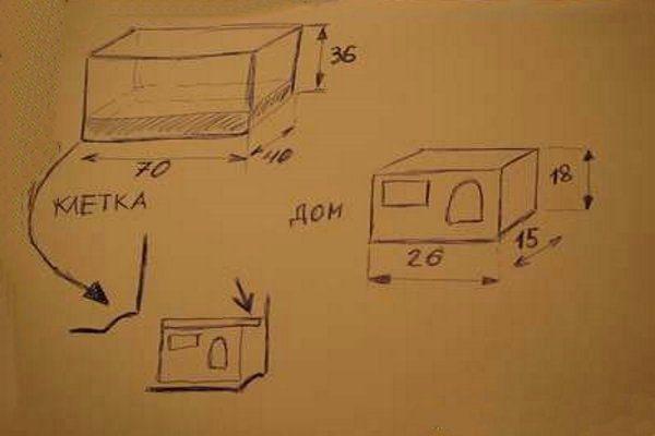 Схема домика для хорька