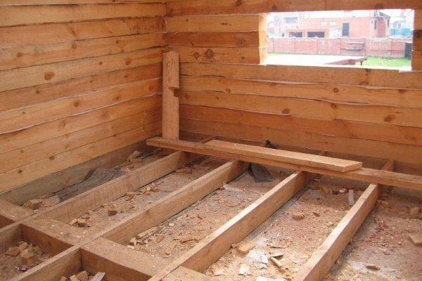 Укладка лаг для деревянного пола