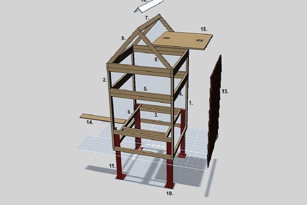 Вертикальный улей с двускатной крышей